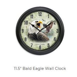 "11.5"" Diameter Clock Bald Eagle"