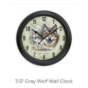 "11.5"" Diameter Clock Gray Wolf"