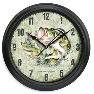 "11.5"" Diameter Clock Largemouth Bass"