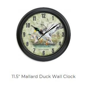 "11.5"" Diameter Clock Mallard Duck"