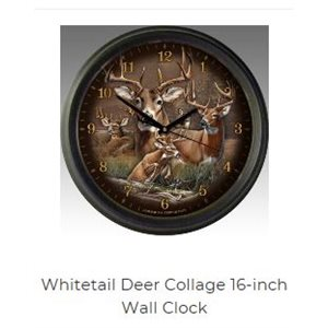 "16"" Wall Clocks Whitetail Deer Collage"
