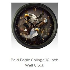"16"" Wall Clocks Bald Eagle Collage"
