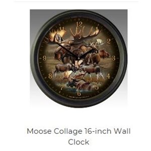 "16"" Wall Clocks Moose Collage"