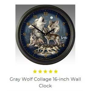 "16"" Wall Clocks Gray Wolf Collage"